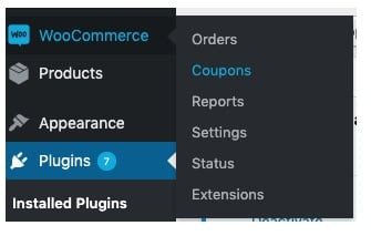 WordPress woocommerce coupon menu